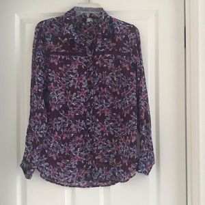 Kut from the Kloth Floral Buttondown Blouse Sz S